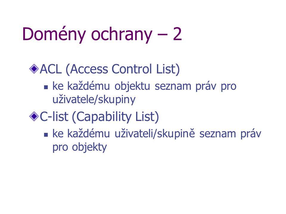 Domény ochrany – 2 ACL (Access Control List) ke každému objektu seznam práv pro uživatele/skupiny C-list (Capability List) ke každému uživateli/skupin