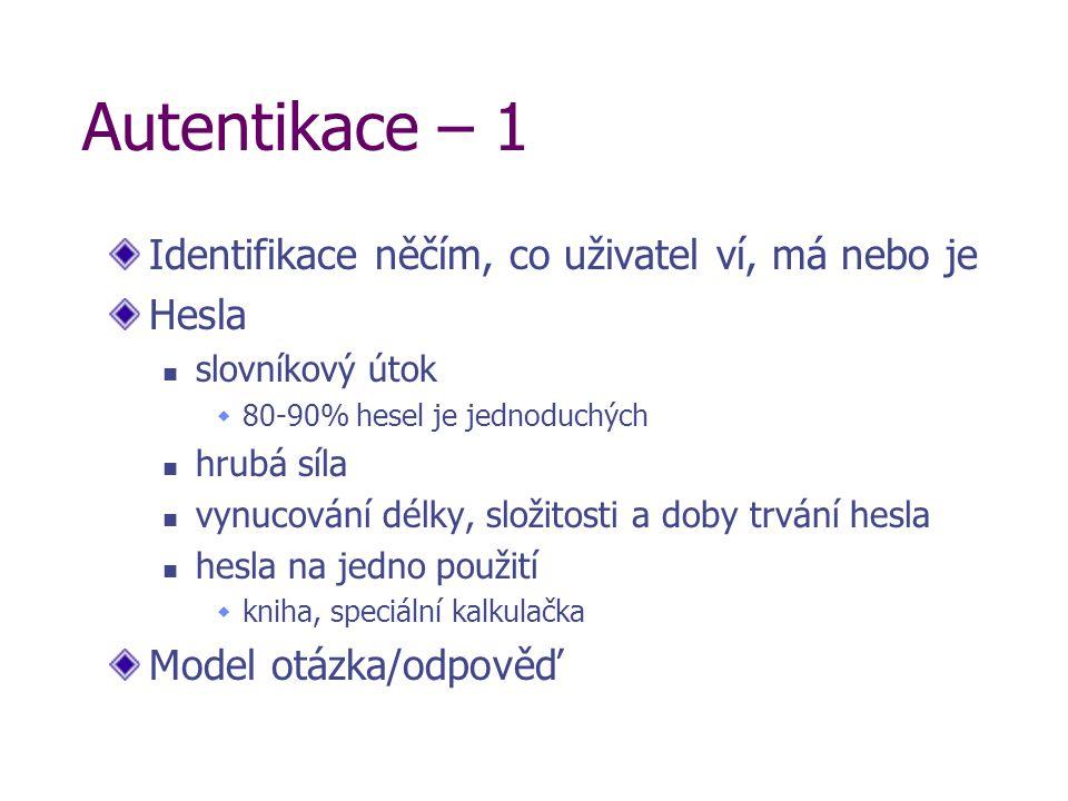 Autentikace – 1 Identifikace něčím, co uživatel ví, má nebo je Hesla slovníkový útok  80-90% hesel je jednoduchých hrubá síla vynucování délky, složi