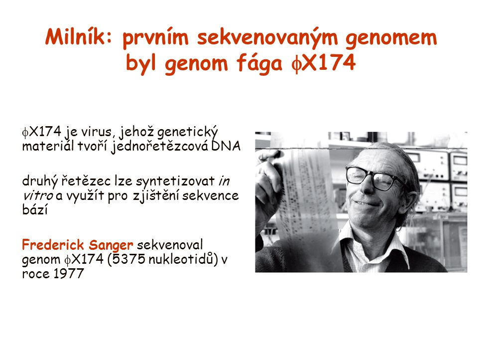 Milník: prvním sekvenovaným genomem byl genom fága  X174  X174 je virus, jehož genetický materiál tvoří jednořetězcová DNA druhý řetězec lze synteti