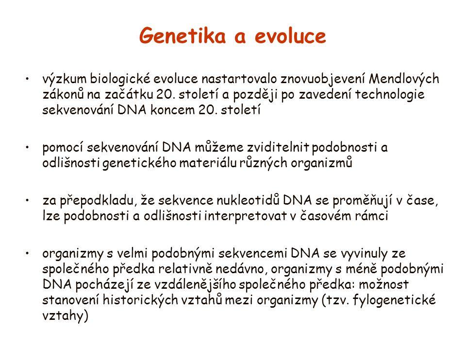 Genetika a evoluce výzkum biologické evoluce nastartovalo znovuobjevení Mendlových zákonů na začátku 20. století a později po zavedení technologie sek