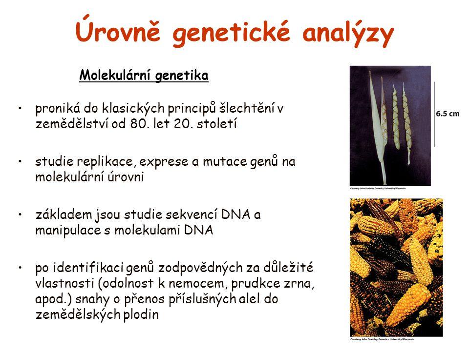 Úrovně genetické analýzy proniká do klasických principů šlechtění v zemědělství od 80. let 20. století studie replikace, exprese a mutace genů na mole