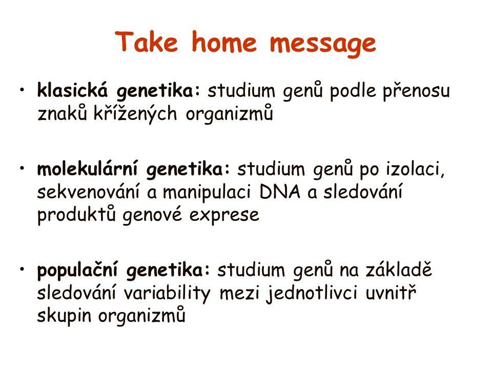 Take home message klasická genetika: studium genů podle přenosu znaků křížených organizmů molekulární genetika: studium genů po izolaci, sekvenování a