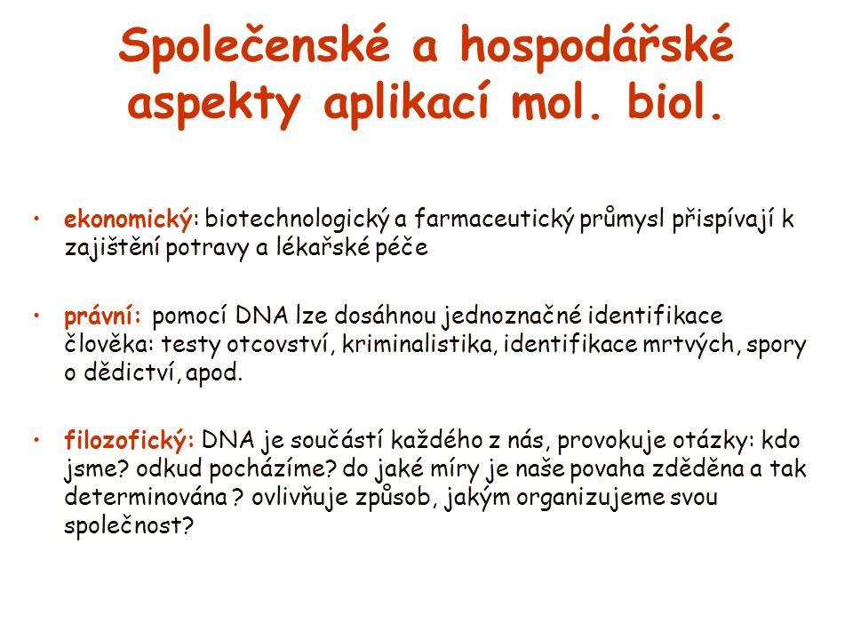 Společenské a hospodářské aspekty aplikací mol. biol. ekonomický: biotechnologický a farmaceutický průmysl přispívají k zajištění potravy a lékařské p
