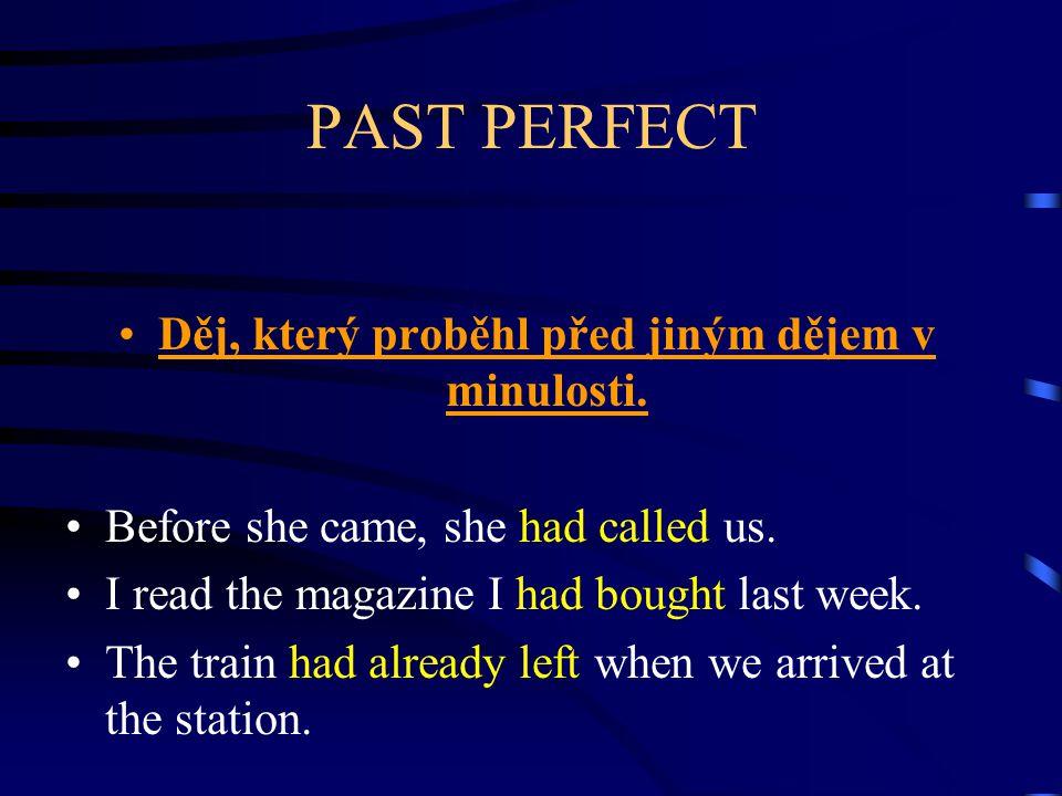 PAST PERFECT Děj, který proběhl před jiným dějem v minulosti. Before she came, she had called us. I read the magazine I had bought last week. The trai
