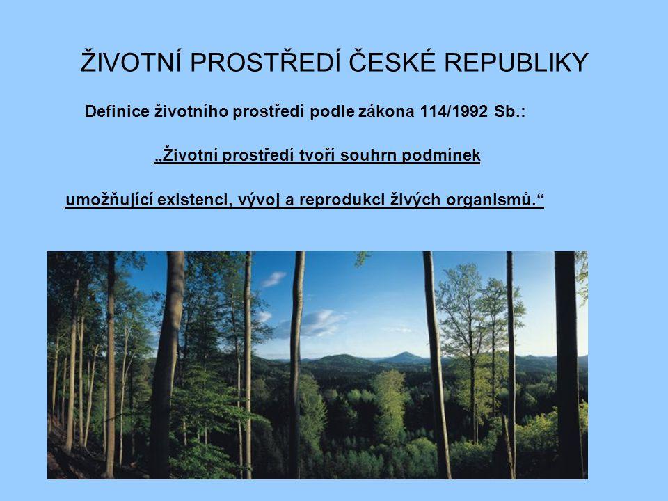 """ŽIVOTNÍ PROSTŘEDÍ ČESKÉ REPUBLIKY Definice životního prostředí podle zákona 114/1992 Sb.: """"Životní prostředí tvoří souhrn podmínek umožňující existenc"""