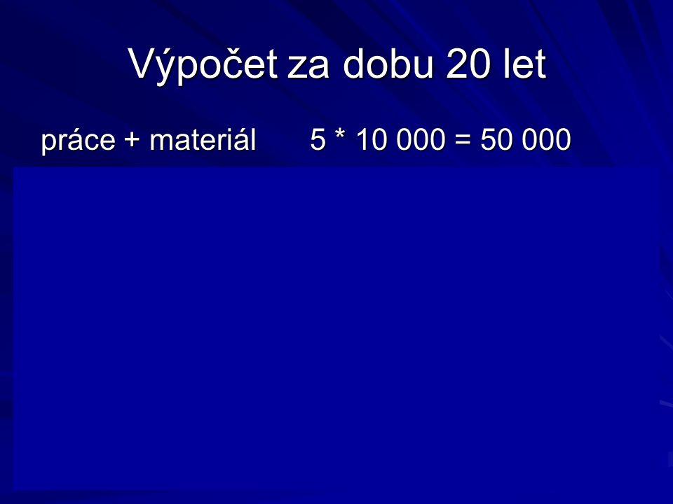 Výpočet za dobu 20 let práce + materiál5 * 10 000 = 50 000 zásobitel pro 20 let a 10% je 8,5136 PV výdajů 425 680 stroj2 000 000 stroj2 000 000 celkem2 425 680 celkem2 425 680 Nákup součástek 20 * 10 000 = 200 000 PV nákupu je 8,5136 * 200 000 = 1 702 720 Výhodnější je součástku nakupovat!