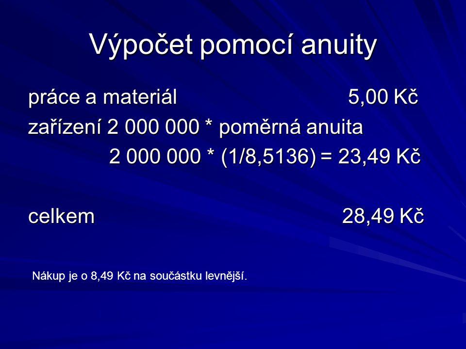 Výpočet pomocí anuity práce a materiál 5,00 Kč zařízení 2 000 000 * poměrná anuita 2 000 000 * (1/8,5136) = 23,49 Kč 2 000 000 * (1/8,5136) = 23,49 Kč celkem 28,49 Kč Nákup je o 8,49 Kč na součástku levnější.
