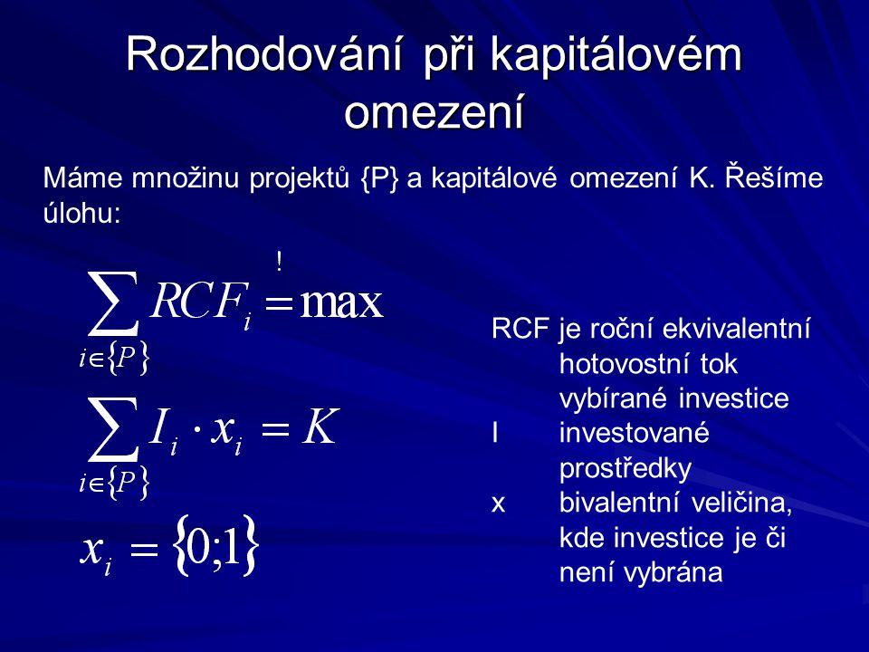 Rozhodování při kapitálovém omezení Máme množinu projektů {P} a kapitálové omezení K. Řešíme úlohu: RCFje roční ekvivalentní hotovostní tok vybírané i