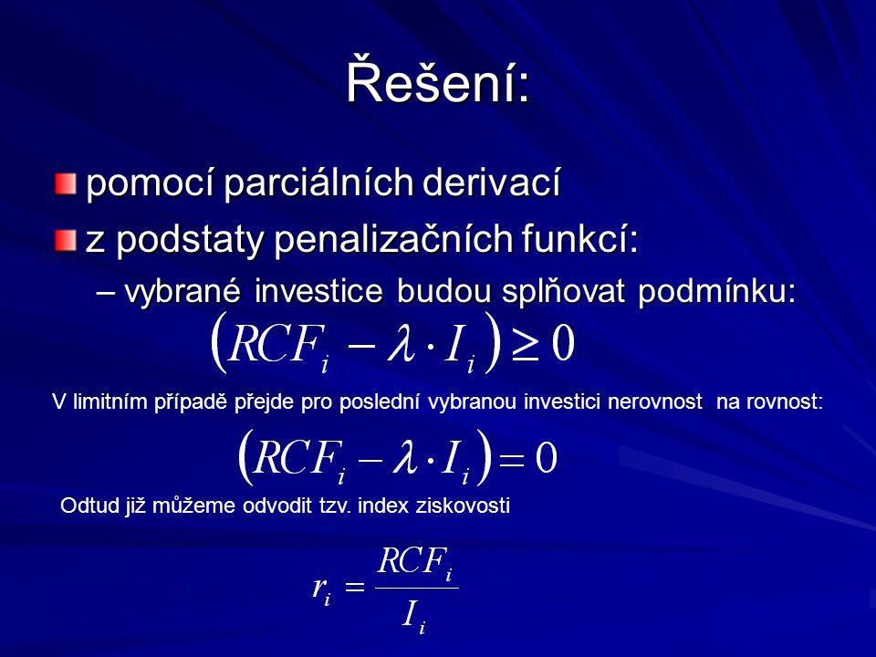 Řešení: pomocí parciálních derivací z podstaty penalizačních funkcí: –vybrané investice budou splňovat podmínku: Odtud již můžeme odvodit tzv.