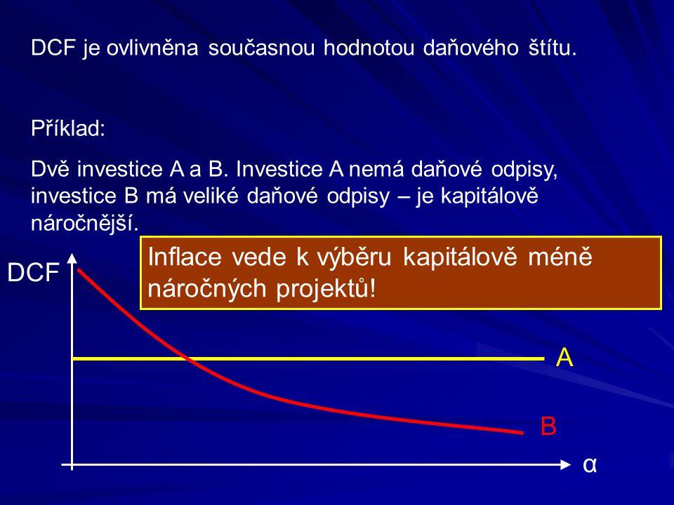 DCF je ovlivněna současnou hodnotou daňového štítu. Příklad: Dvě investice A a B. Investice A nemá daňové odpisy, investice B má veliké daňové odpisy