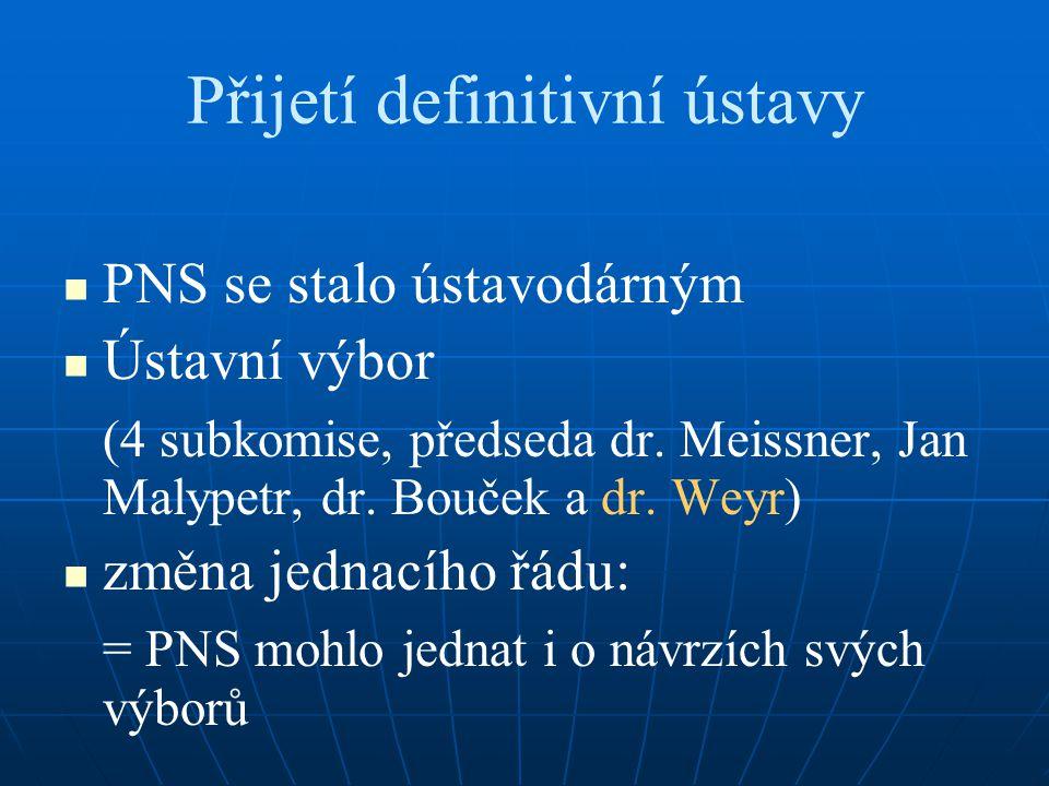 Přijetí definitivní ústavy PNS se stalo ústavodárným Ústavní výbor (4 subkomise, předseda dr. Meissner, Jan Malypetr, dr. Bouček a dr. Weyr) změna jed