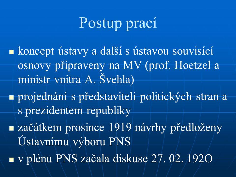 Postup prací koncept ústavy a další s ústavou souvisící osnovy připraveny na MV (prof. Hoetzel a ministr vnitra A. Švehla) projednání s představiteli