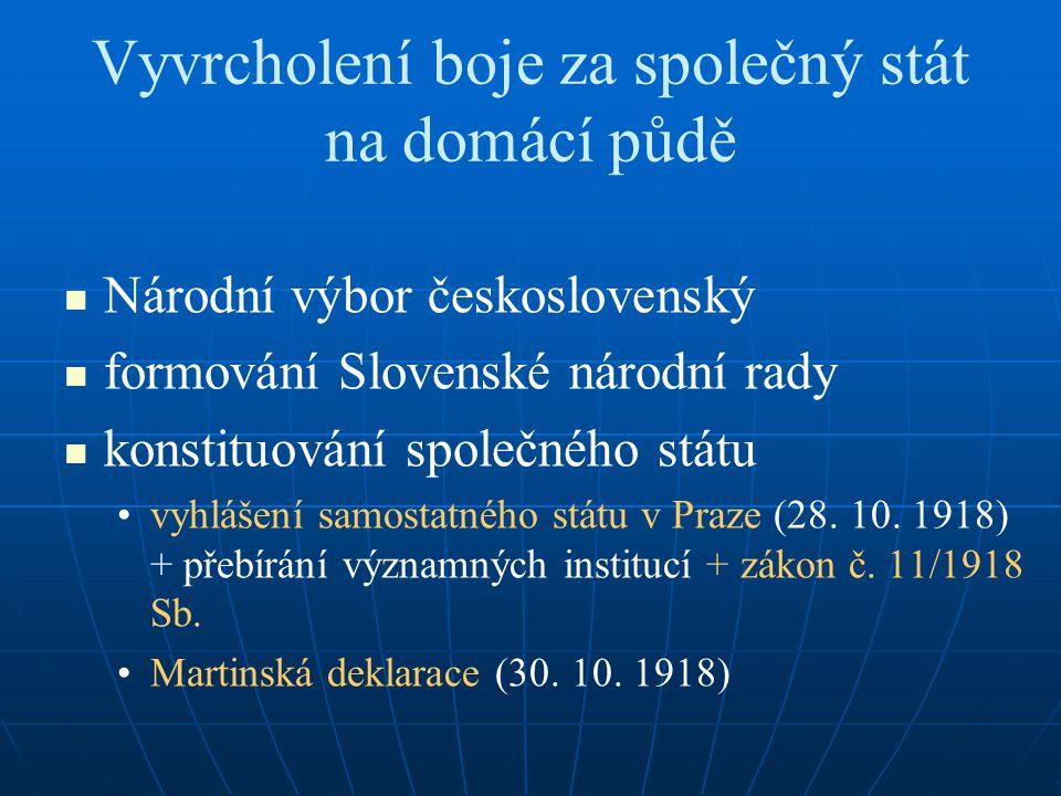 Vyvrcholení boje za společný stát na domácí půdě Národní výbor československý formování Slovenské národní rady konstituování společného státu vyhlášen