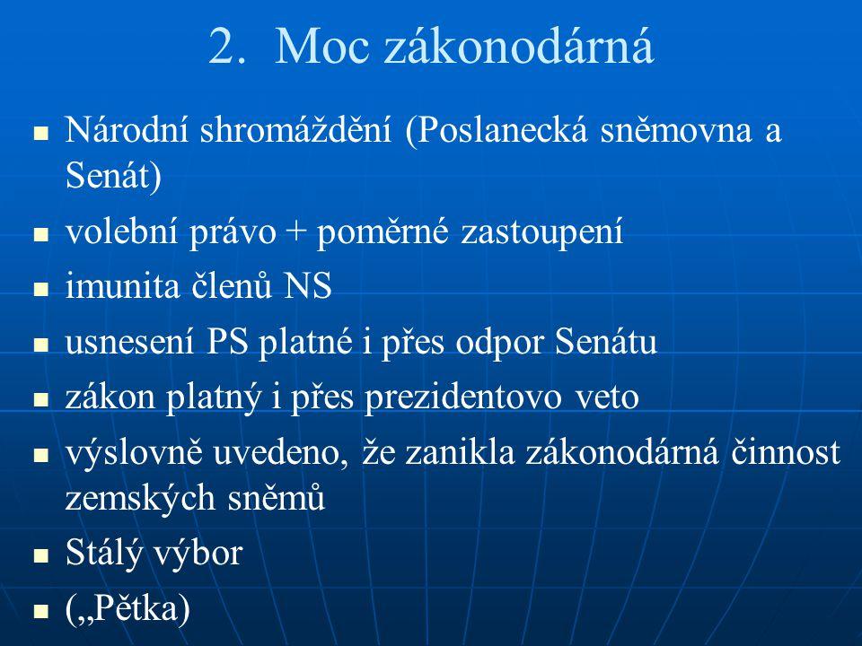 2. Moc zákonodárná Národní shromáždění (Poslanecká sněmovna a Senát) volební právo + poměrné zastoupení imunita členů NS usnesení PS platné i přes odp