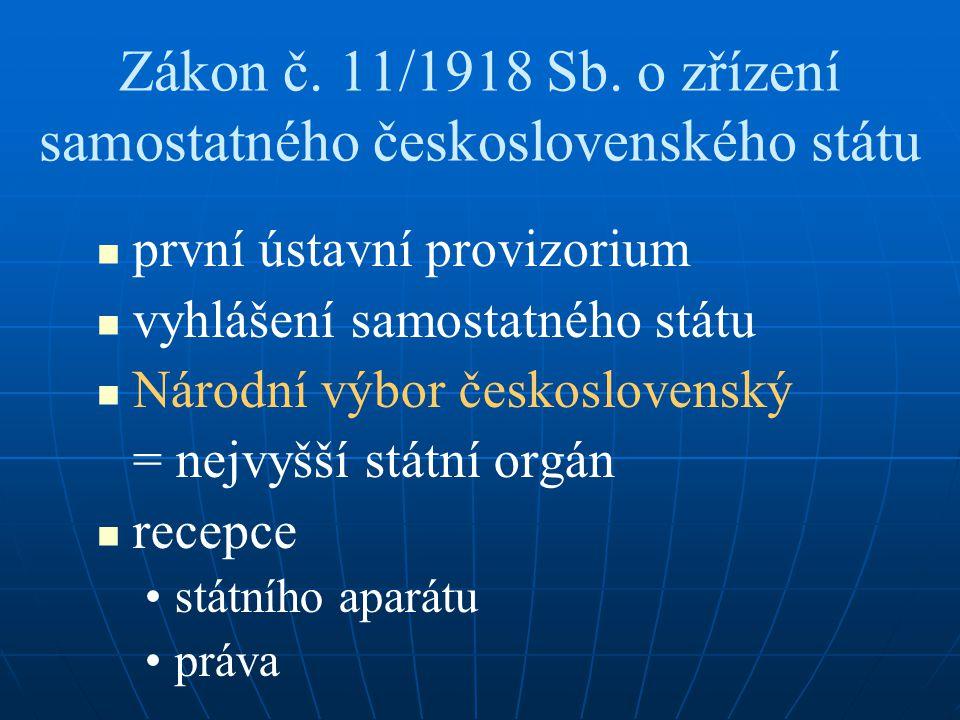 Zákon č. 11/1918 Sb. o zřízení samostatného československého státu první ústavní provizorium vyhlášení samostatného státu Národní výbor československý