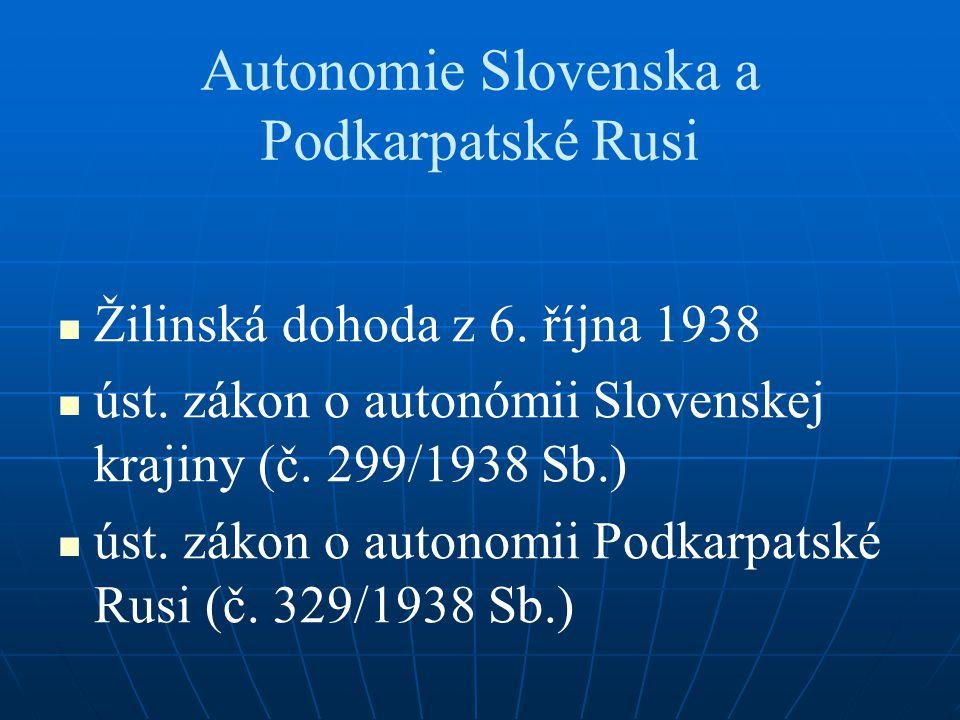Autonomie Slovenska a Podkarpatské Rusi Žilinská dohoda z 6. října 1938 úst. zákon o autonómii Slovenskej krajiny (č. 299/1938 Sb.) úst. zákon o auton