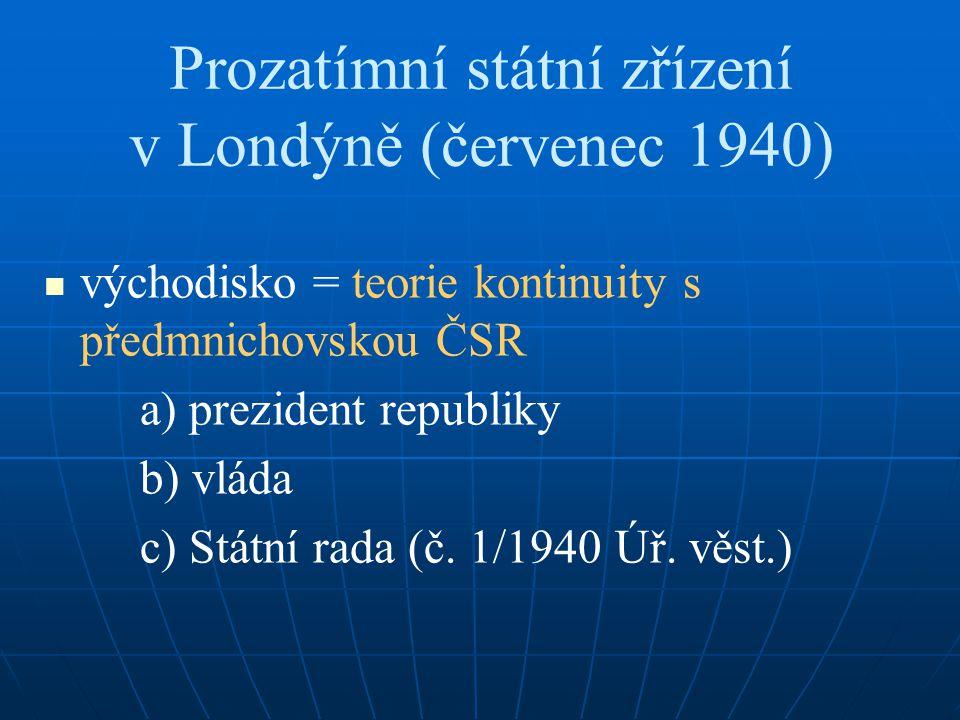 Prozatímní státní zřízení v Londýně (červenec 1940) východisko = teorie kontinuity s předmnichovskou ČSR a) prezident republiky b) vláda c) Státní rad