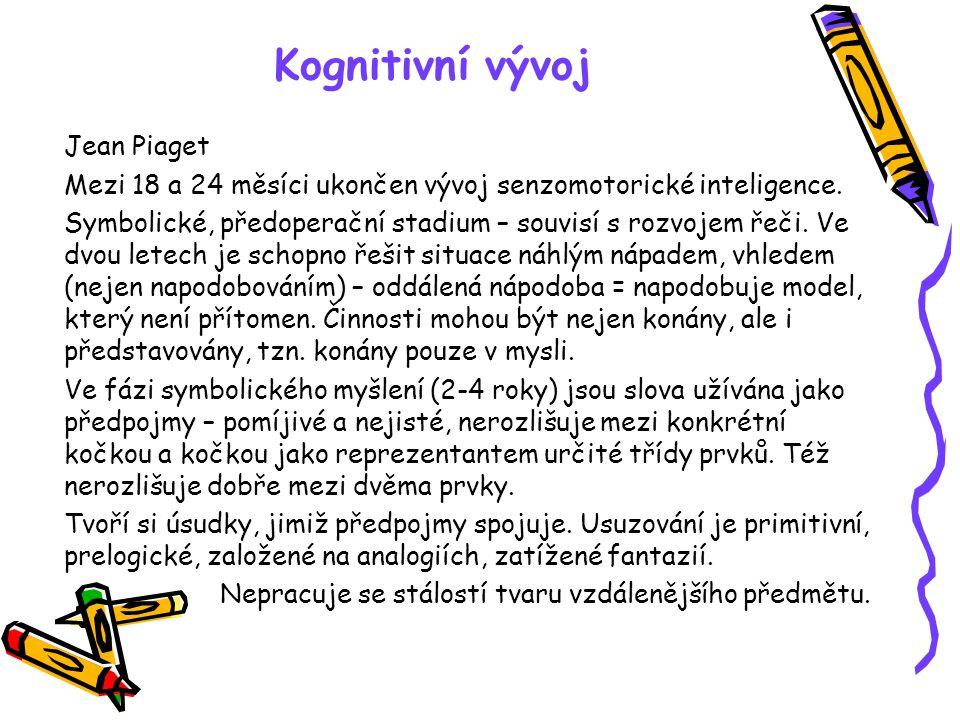 Kognitivní vývoj Jean Piaget Mezi 18 a 24 měsíci ukončen vývoj senzomotorické inteligence. Symbolické, předoperační stadium – souvisí s rozvojem řeči.