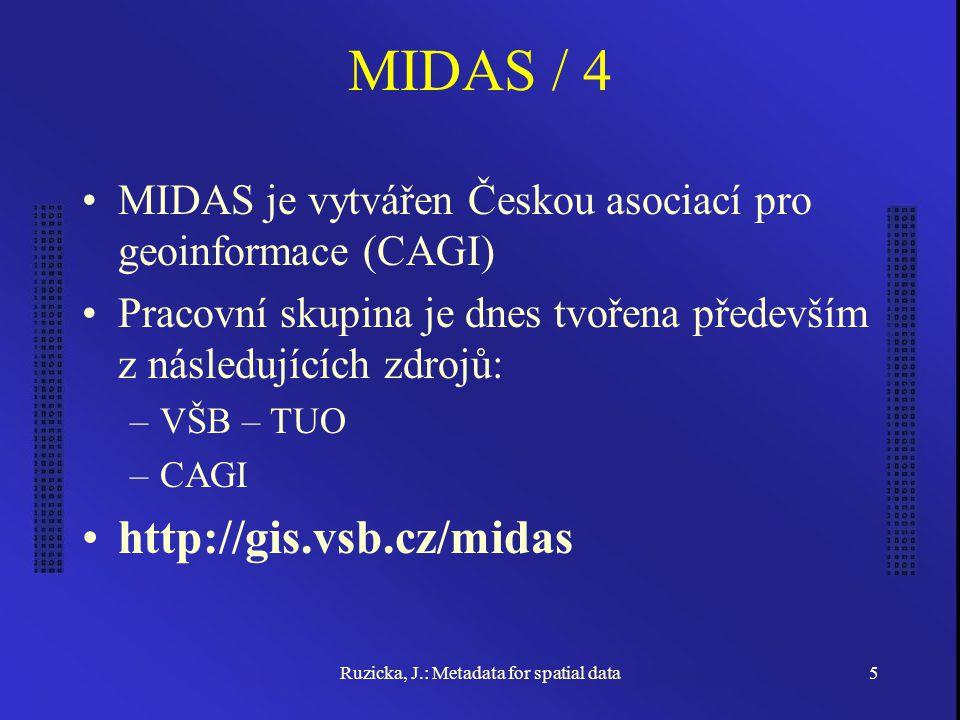 Ruzicka, J.: Metadata for spatial data5 MIDAS / 4 MIDAS je vytvářen Českou asociací pro geoinformace (CAGI) Pracovní skupina je dnes tvořena především z následujících zdrojů: –VŠB – TUO –CAGI http://gis.vsb.cz/midas
