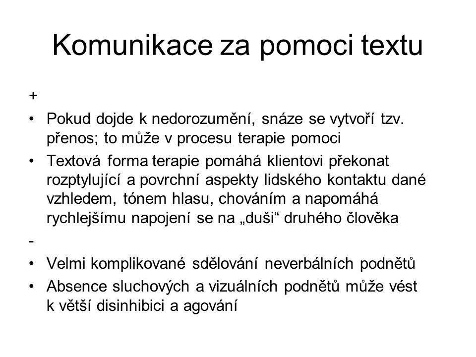 Komunikace za pomoci textu + Pokud dojde k nedorozumění, snáze se vytvoří tzv.