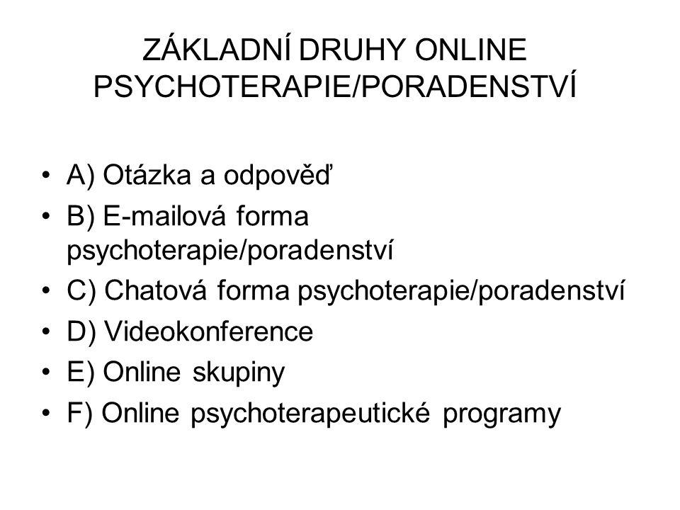 ZÁKLADNÍ DRUHY ONLINE PSYCHOTERAPIE/PORADENSTVÍ A) Otázka a odpověď B) E-mailová forma psychoterapie/poradenství C) Chatová forma psychoterapie/poradenství D) Videokonference E) Online skupiny F) Online psychoterapeutické programy