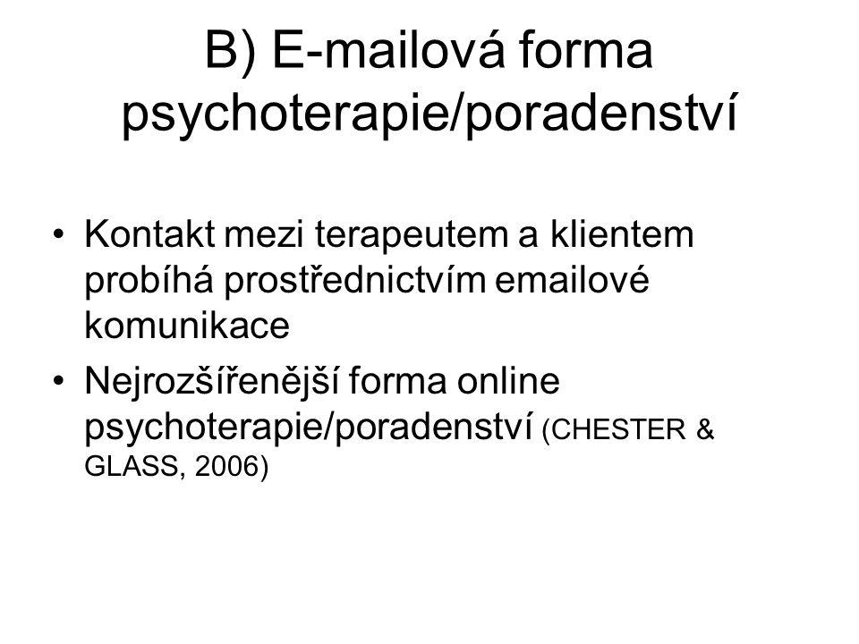 B) E-mailová forma psychoterapie/poradenství Kontakt mezi terapeutem a klientem probíhá prostřednictvím emailové komunikace Nejrozšířenější forma online psychoterapie/poradenství (CHESTER & GLASS, 2006)
