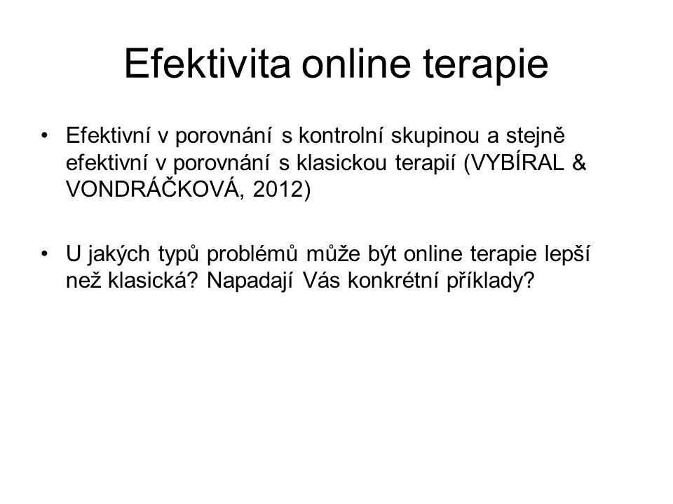 Efektivita online terapie Efektivní v porovnání s kontrolní skupinou a stejně efektivní v porovnání s klasickou terapií (VYBÍRAL & VONDRÁČKOVÁ, 2012) U jakých typů problémů může být online terapie lepší než klasická.