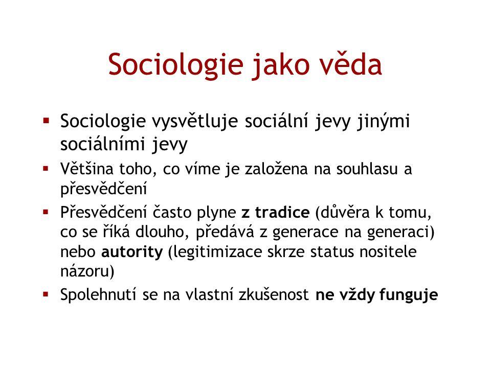 Sociologie jako věda  Sociologie vysvětluje sociální jevy jinými sociálními jevy  Většina toho, co víme je založena na souhlasu a přesvědčení  Přes
