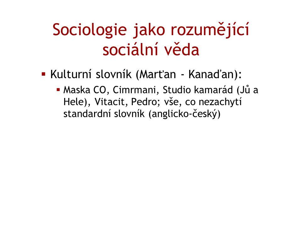 Sociologie jako rozumějící sociální věda  Kulturní slovník (Marťan - Kanaďan):  Maska CO, Cimrmani, Studio kamarád (Jů a Hele), Vitacit, Pedro; vše,