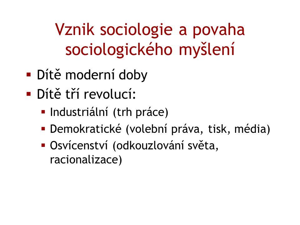 Vznik sociologie a povaha sociologického myšlení  Dítě moderní doby  Dítě tří revolucí:  Industriální (trh práce)  Demokratické (volební práva, ti