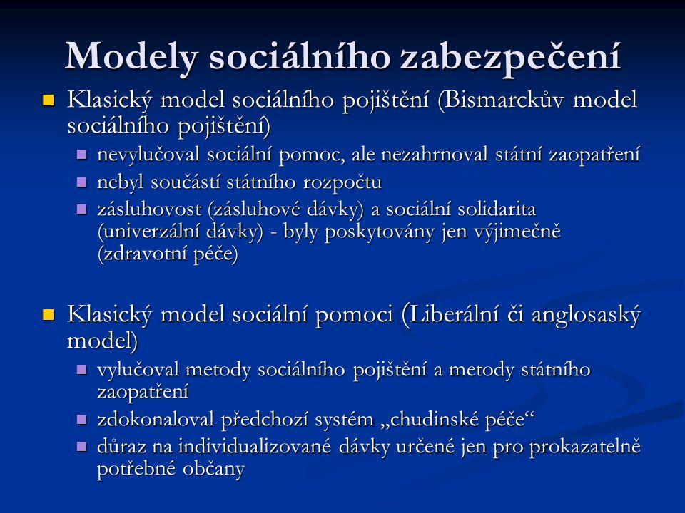 Modely sociálního zabezpečení Klasický model sociálního pojištění (Bismarckův model sociálního pojištění) Klasický model sociálního pojištění (Bismarc
