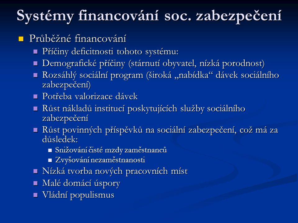 Systémy financování soc. zabezpečení Průběžné financování Průběžné financování Příčiny deficitnosti tohoto systému: Příčiny deficitnosti tohoto systém
