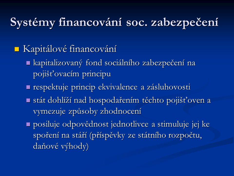 Systémy financování soc. zabezpečení Kapitálové financování Kapitálové financování kapitalizovaný fond sociálního zabezpečení na pojišťovacím principu