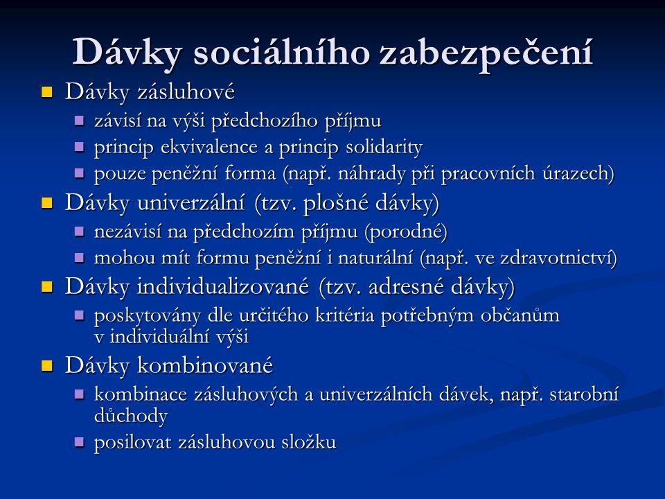 Dávky sociálního zabezpečení Dávky zásluhové Dávky zásluhové závisí na výši předchozího příjmu závisí na výši předchozího příjmu princip ekvivalence a