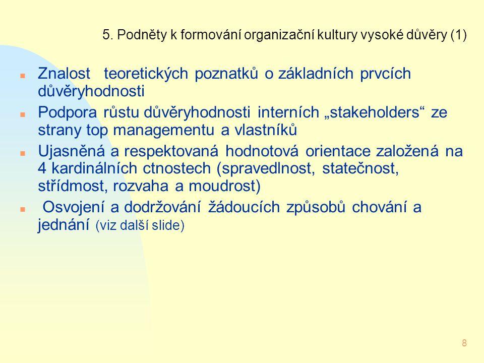8 5. Podněty k formování organizační kultury vysoké důvěry (1) n Znalost teoretických poznatků o základních prvcích důvěryhodnosti n Podpora růstu dův