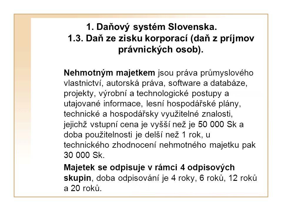 1.Daňový systém Slovenska. 1.3. Daň ze zisku korporací (daň z príjmov právnických osob).