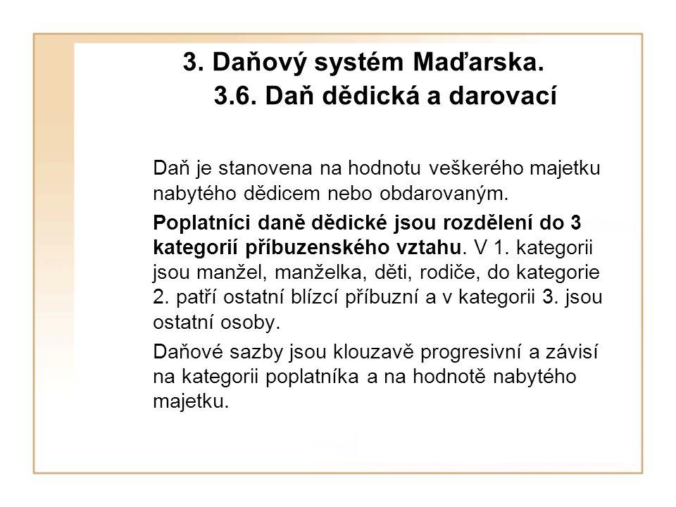 3.Daňový systém Maďarska. 3.6. Daň dědická a darovací Kategorie 1.