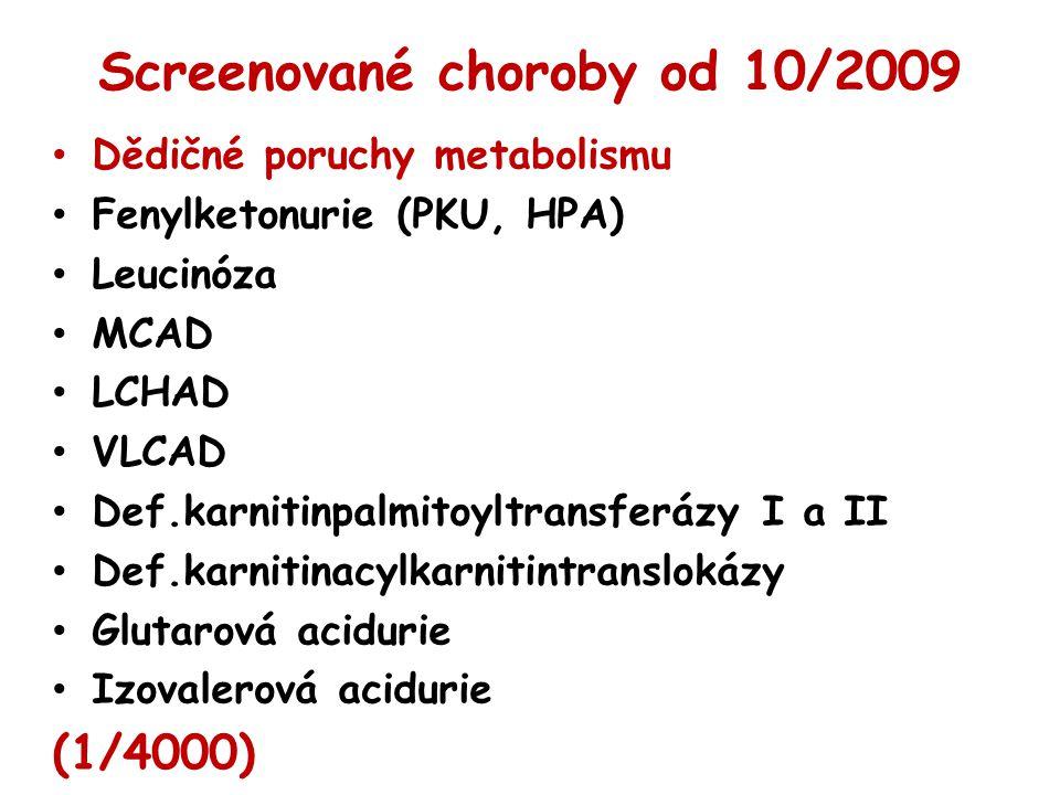 Screenované choroby od 10/2009 Dědičné poruchy metabolismu Fenylketonurie (PKU, HPA) Leucinóza MCAD LCHAD VLCAD Def.karnitinpalmitoyltransferázy I a I