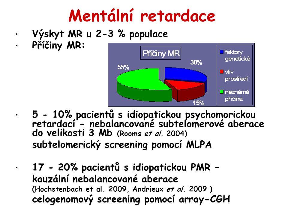 Mentální retardace Výskyt MR u 2-3 % populace Příčiny MR: 5 - 10% pacientů s idiopatickou psychomorickou retardací - nebalancované subtelomerové aberace do velikosti 3 Mb (Rooms et al.