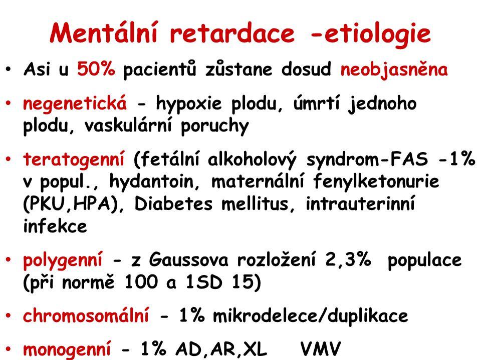 Mentální retardace -etiologie Asi u 50% pacientů zůstane dosud neobjasněna negenetická - hypoxie plodu, úmrtí jednoho plodu, vaskulární poruchy terato