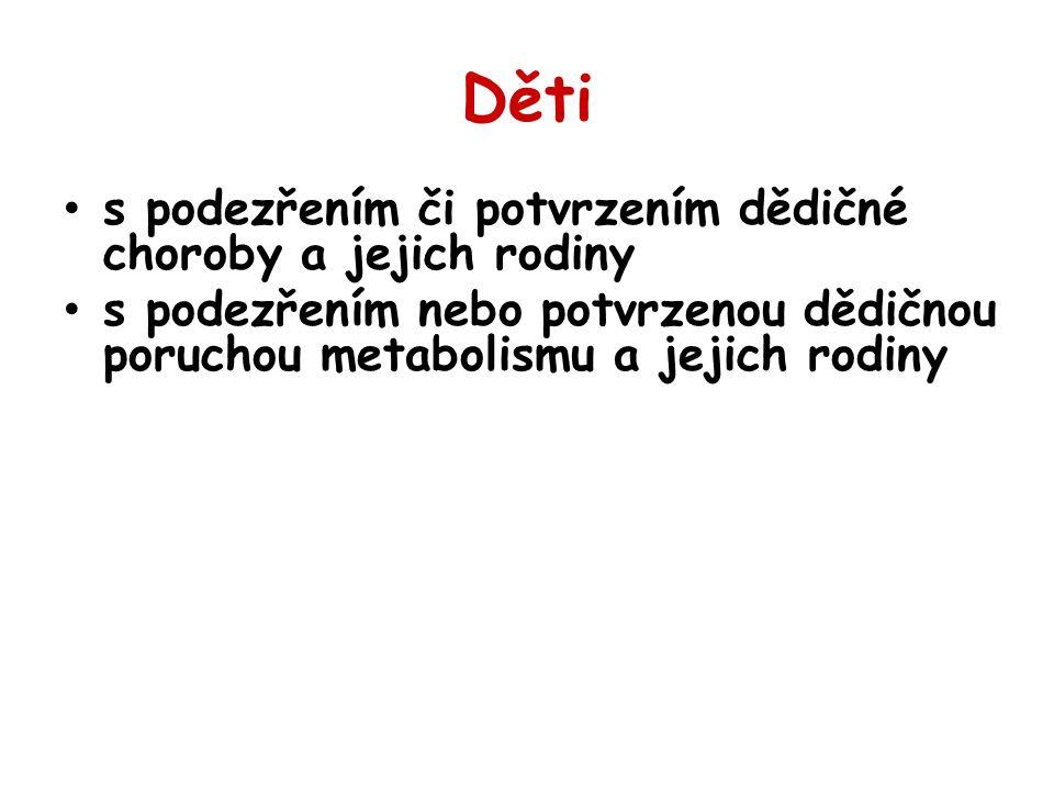 Děti s podezřením či potvrzením dědičné choroby a jejich rodiny s podezřením nebo potvrzenou dědičnou poruchou metabolismu a jejich rodiny