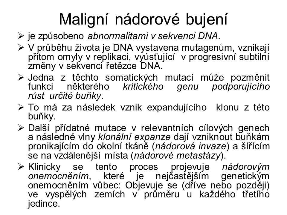 Maligní nádorové bujení  je způsobeno abnormalitami v sekvenci DNA.  V průběhu života je DNA vystavena mutagenům, vznikají přitom omyly v replikaci,