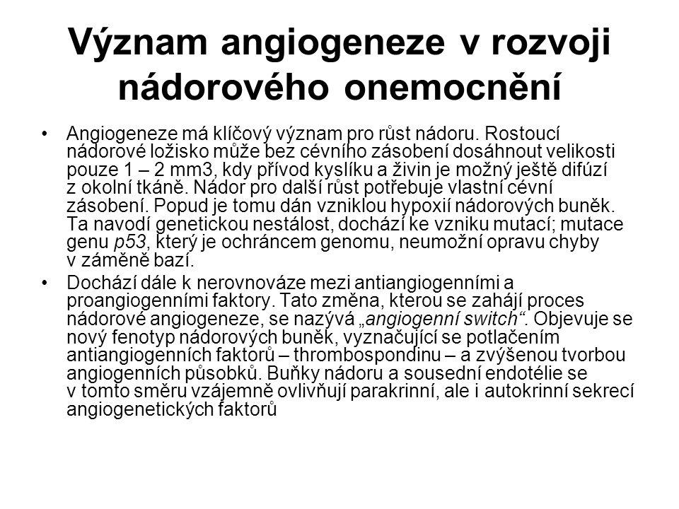 Význam angiogeneze v rozvoji nádorového onemocnění Angiogeneze má klíčový význam pro růst nádoru. Rostoucí nádorové ložisko může bez cévního zásobení
