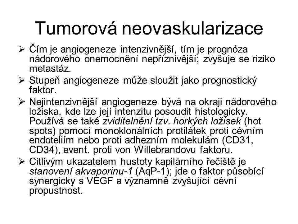 Tumorová neovaskularizace  Čím je angiogeneze intenzivnější, tím je prognóza nádorového onemocnění nepříznivější; zvyšuje se riziko metastáz.  Stupe