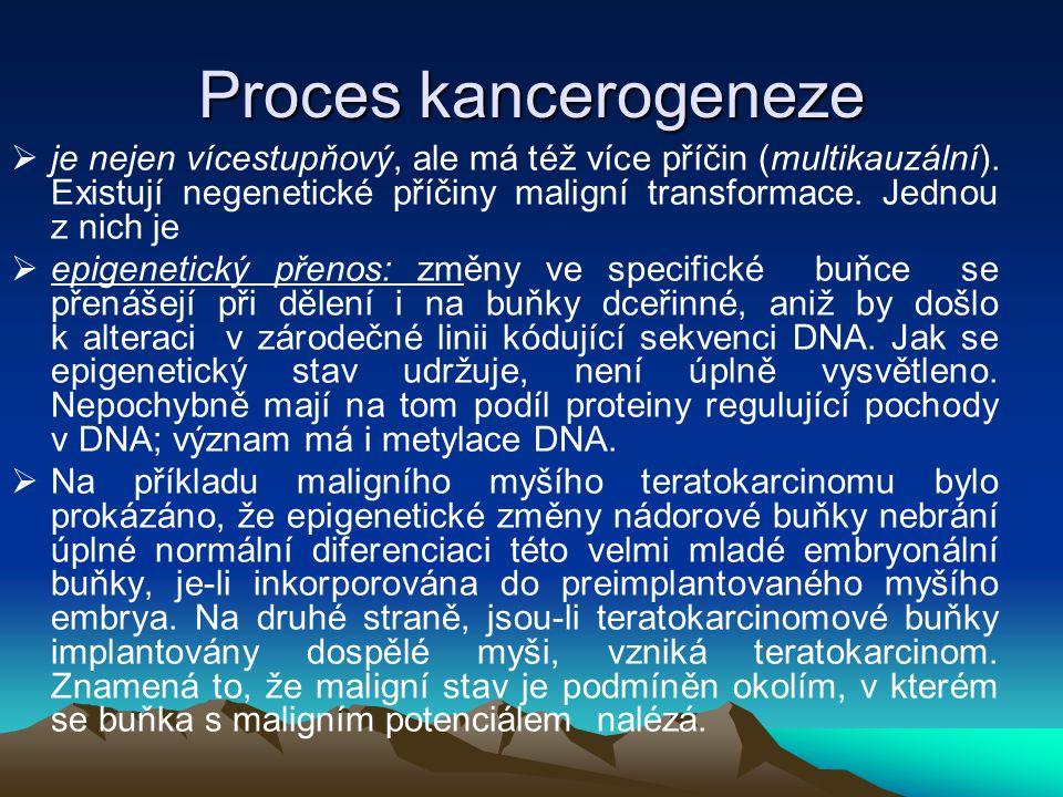 Proces kancerogeneze  je nejen vícestupňový, ale má též více příčin (multikauzální). Existují negenetické příčiny maligní transformace. Jednou z nich