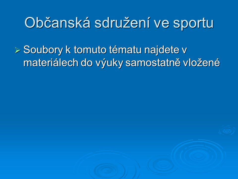 Občanská sdružení ve sportu  Soubory k tomuto tématu najdete v materiálech do výuky samostatně vložené