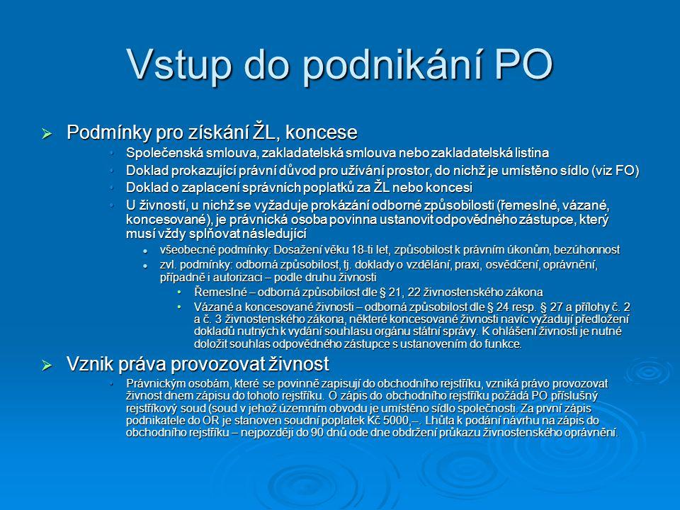 Vstup do podnikání PO  Podmínky pro získání ŽL, koncese Společenská smlouva, zakladatelská smlouva nebo zakladatelská listinaSpolečenská smlouva, zakladatelská smlouva nebo zakladatelská listina Doklad prokazující právní důvod pro užívání prostor, do nichž je umístěno sídlo (viz FO)Doklad prokazující právní důvod pro užívání prostor, do nichž je umístěno sídlo (viz FO) Doklad o zaplacení správních poplatků za ŽL nebo koncesiDoklad o zaplacení správních poplatků za ŽL nebo koncesi U živností, u nichž se vyžaduje prokázání odborné způsobilosti (řemeslné, vázané, koncesované), je právnická osoba povinna ustanovit odpovědného zástupce, který musí vždy splňovat následujícíU živností, u nichž se vyžaduje prokázání odborné způsobilosti (řemeslné, vázané, koncesované), je právnická osoba povinna ustanovit odpovědného zástupce, který musí vždy splňovat následující všeobecné podmínky: Dosažení věku 18-ti let, způsobilost k právním úkonům, bezúhonnost všeobecné podmínky: Dosažení věku 18-ti let, způsobilost k právním úkonům, bezúhonnost zvl.