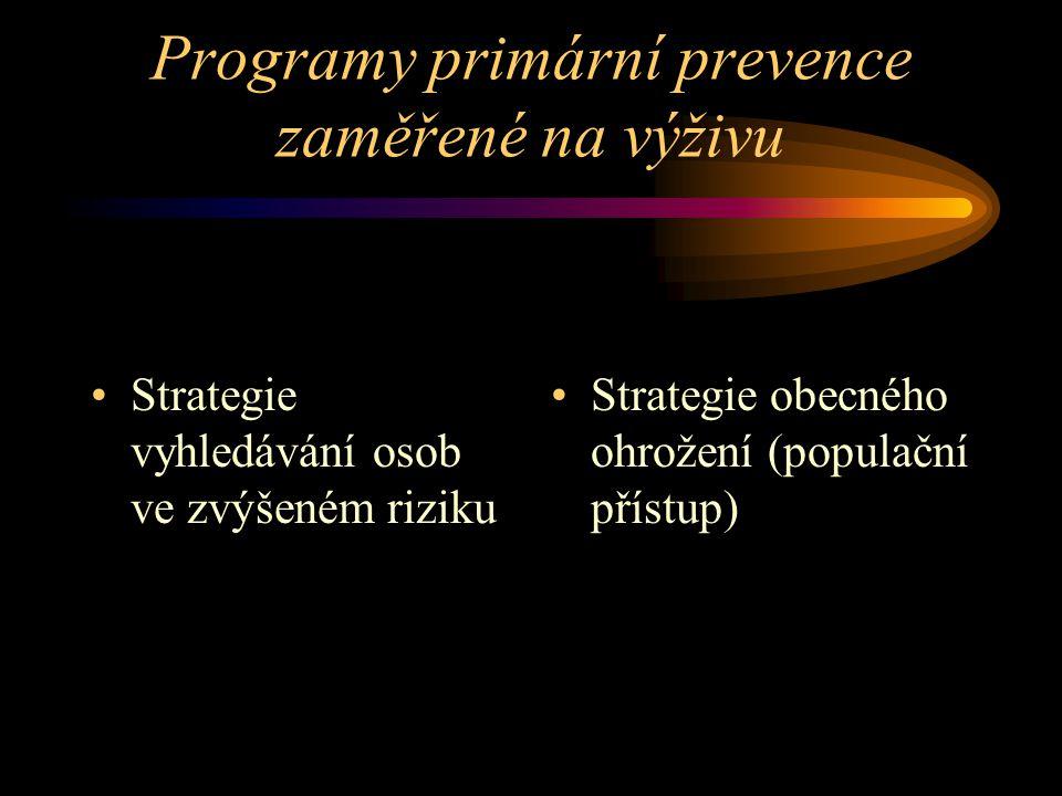 Programy primární prevence zaměřené na výživu Strategie vyhledávání osob ve zvýšeném riziku Strategie obecného ohrožení (populační přístup)