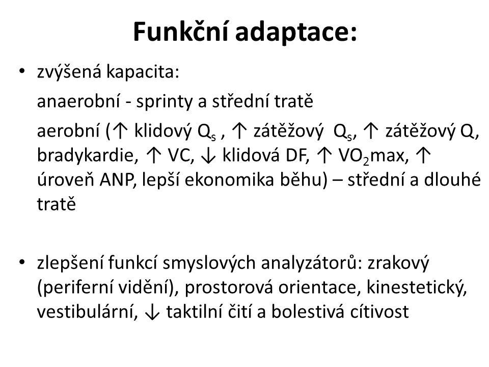 Funkční adaptace: zvýšená kapacita: anaerobní - sprinty a střední tratě aerobní (↑ klidový Q s, ↑ zátěžový Q s, ↑ zátěžový Q, bradykardie, ↑ VC, ↓ klidová DF, ↑ VO 2 max, ↑ úroveň ANP, lepší ekonomika běhu) – střední a dlouhé tratě zlepšení funkcí smyslových analyzátorů: zrakový (periferní vidění), prostorová orientace, kinestetický, vestibulární, ↓ taktilní čití a bolestivá cítivost