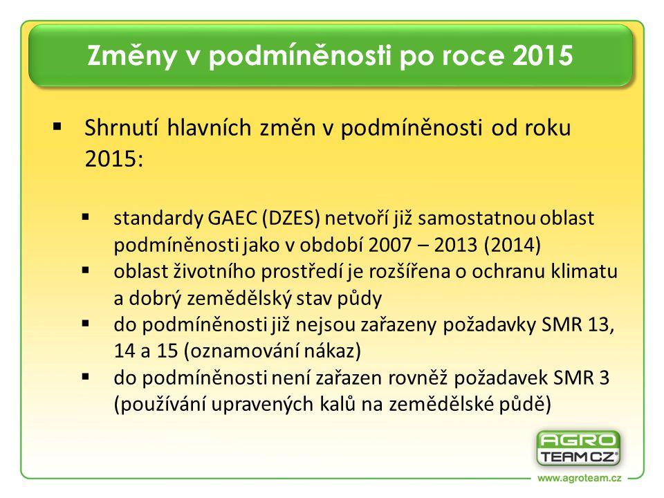 Shrnutí hlavních změn v podmíněnosti od roku 2015:  standardy GAEC (DZES) netvoří již samostatnou oblast podmíněnosti jako v období 2007 – 2013 (2014)  oblast životního prostředí je rozšířena o ochranu klimatu a dobrý zemědělský stav půdy  do podmíněnosti již nejsou zařazeny požadavky SMR 13, 14 a 15 (oznamování nákaz)  do podmíněnosti není zařazen rovněž požadavek SMR 3 (používání upravených kalů na zemědělské půdě)